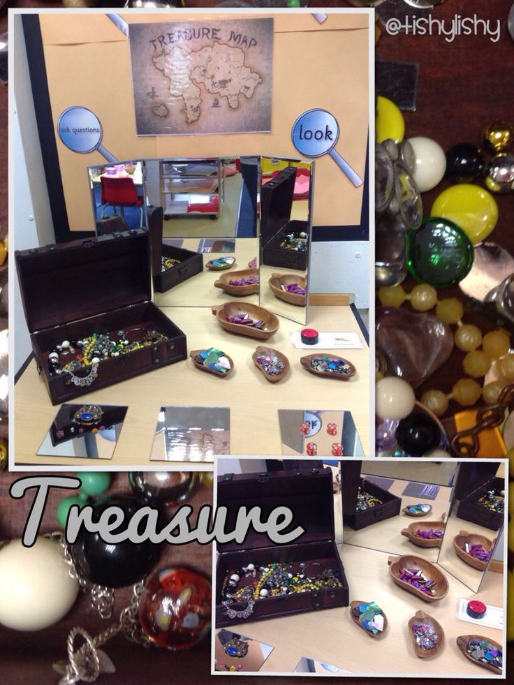 Exploring treasure on the discovery table