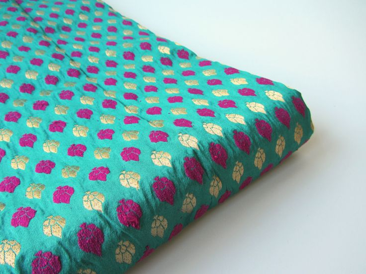 Green gold fuchsia silk brocade Indian silk fabric nr 375 fat quarter by SilksByUmf on Etsy https://www.etsy.com/listing/119441661/green-gold-fuchsia-silk-brocade-indian