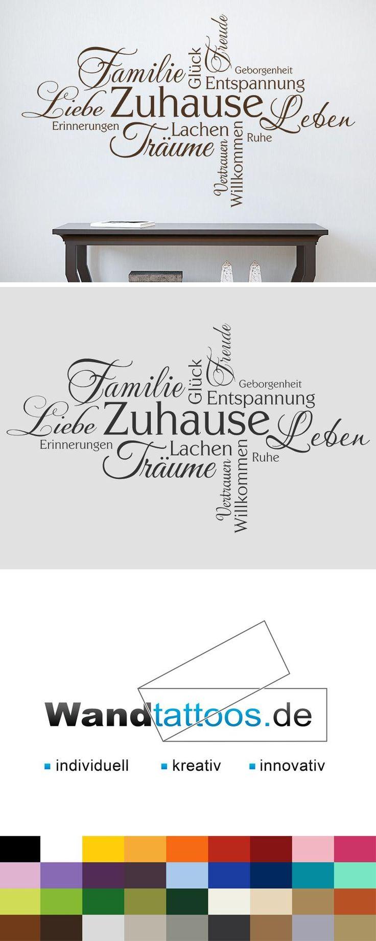 Wandtattoo Zuhause Wortwolke als Idee zur individuellen Wandgestaltung. Einfach Lieblingsfarbe und Größe auswählen. Weitere kreative Anregungen von Wandtattoos.de hier entdecken!