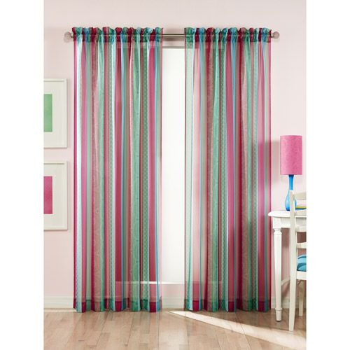 Walmart Clementine Stripes and Prints Sheer Curtain Panel (for her ...