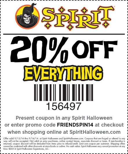 Here's a Spirit Halloween coupon for all friends and family! Get 20% off at your local Spirit Halloween store today!