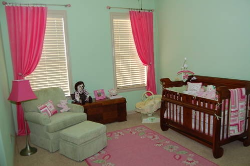 Light Green Walls Bright Pink Curtains Nursery Ideas
