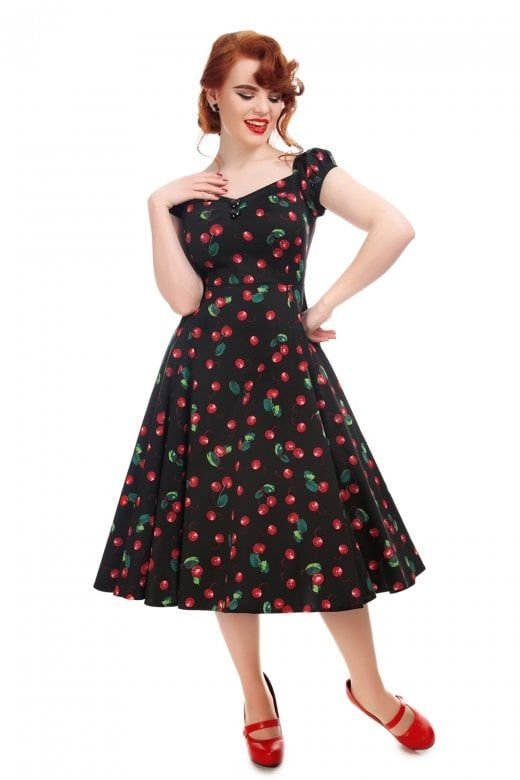b28265cbe7fbe1 Collectif Mainline Dolores Doll 50s Cherry Print Dress in 2019 ...
