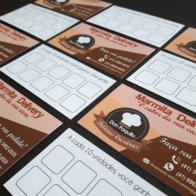 Cartões fidelidade para restaurante