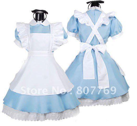 Womens Adult Blue Waitress Apron ALICE  Lolita Maid Costume on AliExpress.com. $20.50