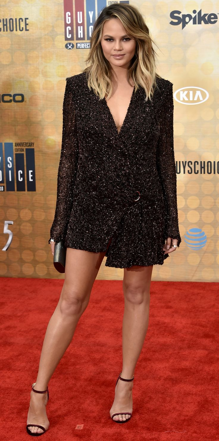 Chrissy Teigen was equal parts sharp and sexy at the Spike TV's Guys Choice Awards 2016 in a copper baked sequin Dion Lee blazer dress with nothing else but a black clutch and delicate strappy sandals.