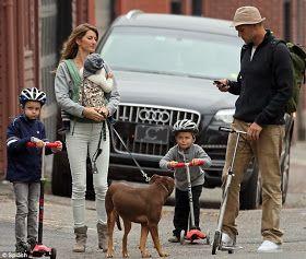Tom Brady, Gisele, the kids and the dog. Plus scooters!