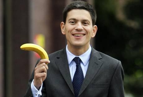 David Miliband clutching a banana.
