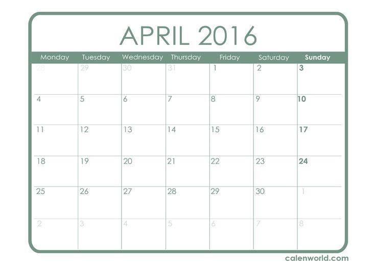 April 2016 Calendar With Jewish Holidays