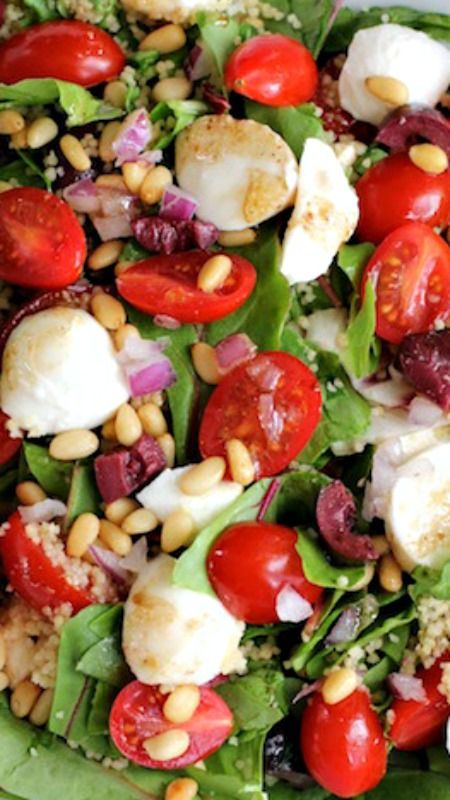 Couscous Salad with Cherry Tomatoes and Mozzarella | Recipe | Couscous ...