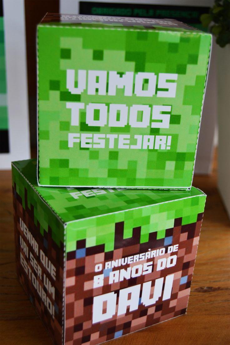Convite cubo 3D Minecraft <br>Tamanho 7x7cm