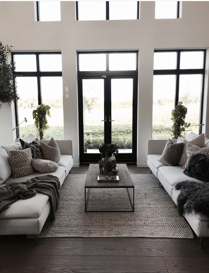 These Are Good Windows Needs More Flair But Ideal Layout In 2020 Farm House Living Room Modern Minimalist Living Room Minimalist Living Room Design