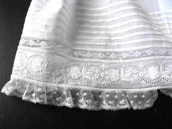 Edwardian Handmade Christening Gown with by Vintagefrenchlinens