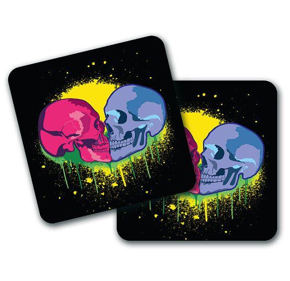 Set of 4 Skull Kissing Design Coasters by LookNFindLtd on Etsy