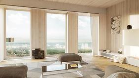 Maserung dominiert: So sollen die Appartements im Wiener Holzhochhaus mal von innen aussehen. #harmonie