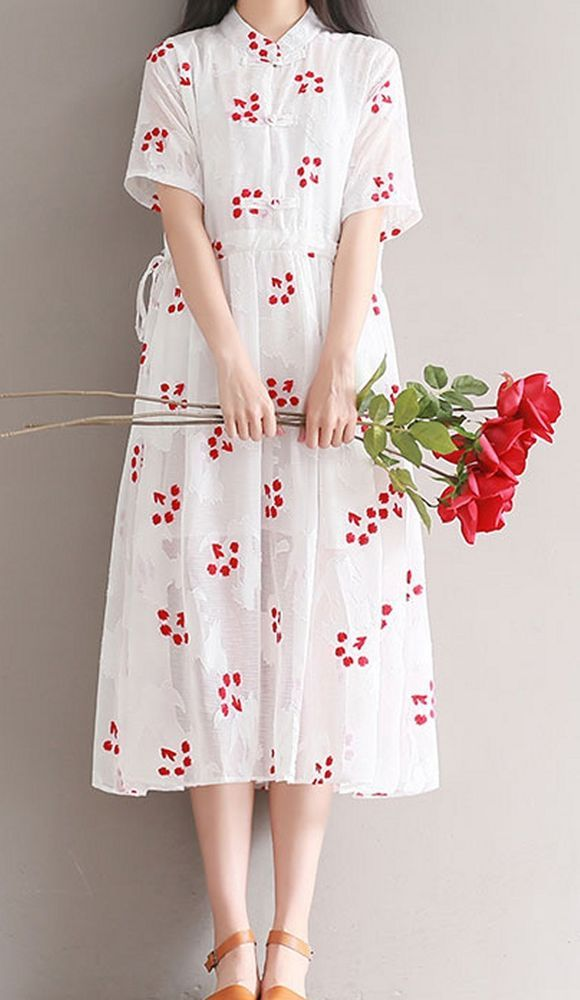 Women loose fitting over plus size retro flower linen dress long tunic pregnant #Unbranded #dress #Casual