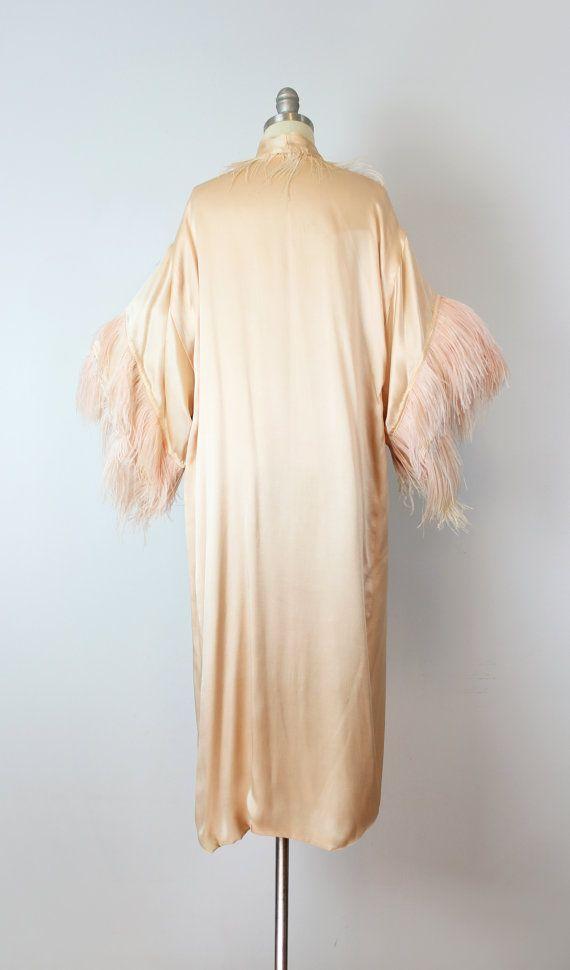 vintage 20s silk feather kimono robe / 1920s от archetypevintage