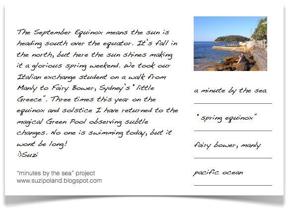"The #Equinox has just passed, #Spring is now here, I went back to #FairyBower, #Manly on Saturday so I could send you another #movingpostcard. ""a minute by the sea"" is a series of still videos/moving photographs by #suzipoland capturing a minute by the #sea. The #videos are not directed or edited but simply a minute of life as it is ... a ""vignette de la vie""... http://suzipoland.blogspot.com.au/2012/09/springequinox.html"