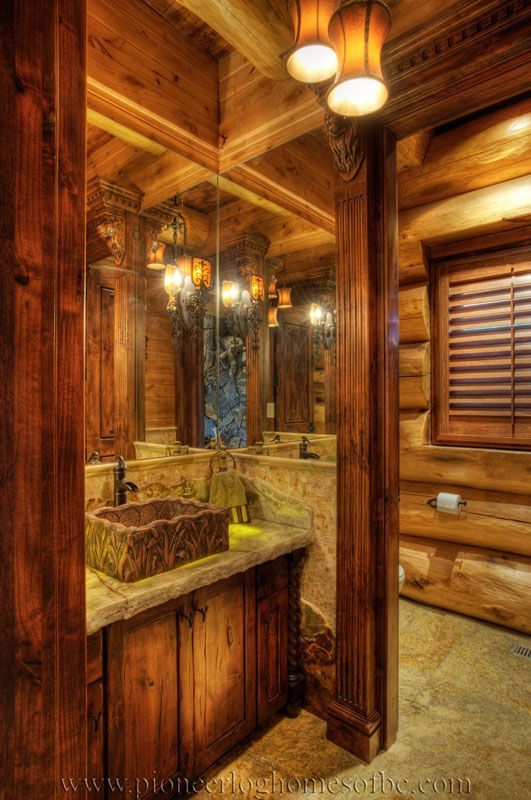 532 best images about rustic bathrooms on pinterest log for Log home bathroom ideas