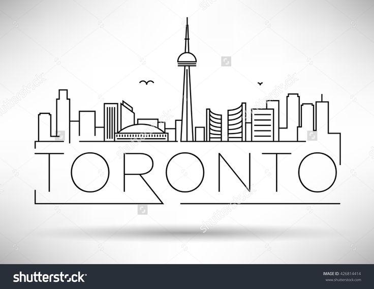 Minimal Toronto City Linear Skyline with Typographic Design