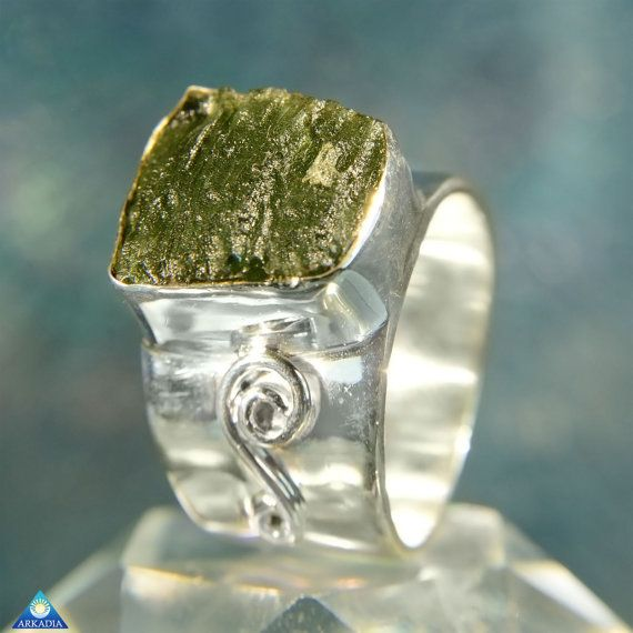 Raw Moldavite 925 Sterling Silver Ring SR397 by ArkadianCollection