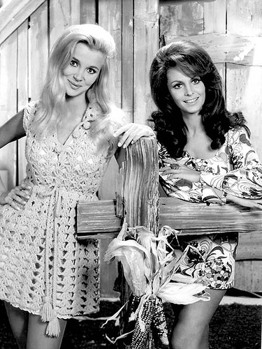 Gunilla Hutton & Diana Scott on Hee Haw, 1969 in awesome dresses.