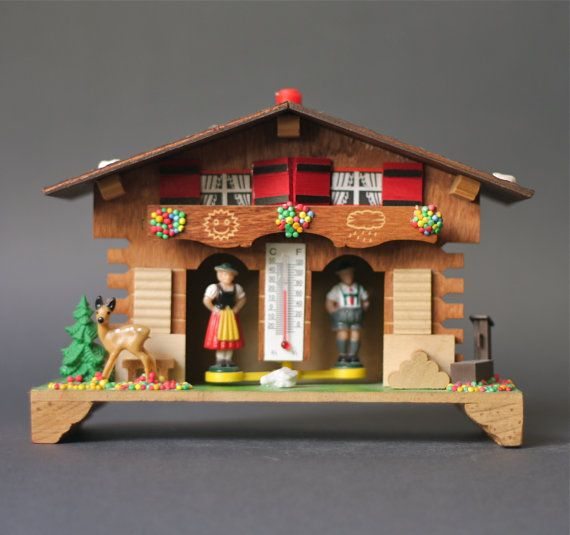 Vintage German Chalet Weather House with Deer by GoGoBerlinette, €35.00