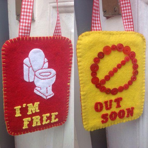 Toilet door sign I'm free occupied sign toilet by ChickFromLeeds