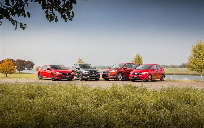 Honda Civic Hatchback, 2017, Honda HR-V, gray crossover, red, Honda CR-V, lineup, Honda Jazz, Japanese cars