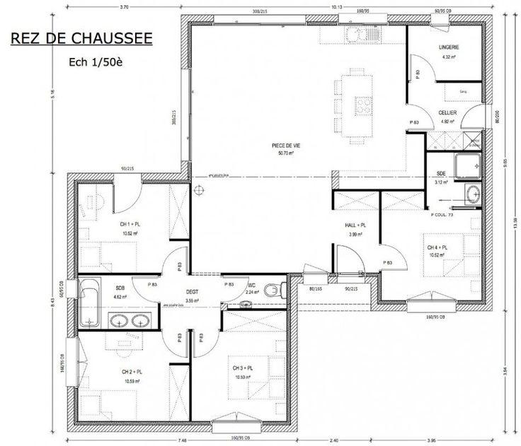 plan maison 4 chambres 2 salles de bain Construction Pinterest - faire plan de maison en ligne