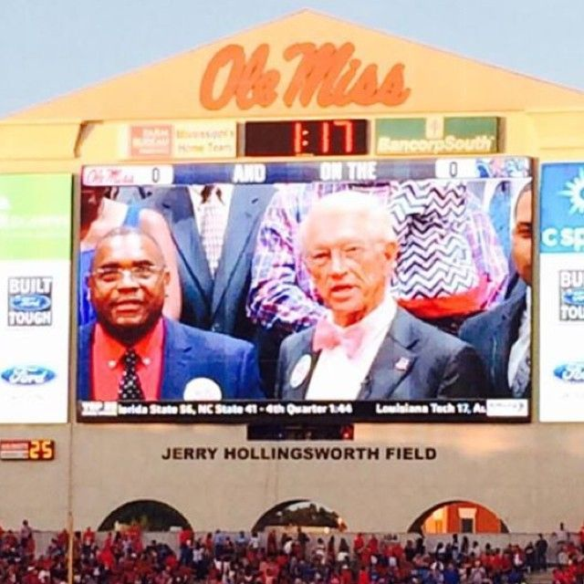 At each Ole Miss football game, a special guest leads the first Hotty Toddy chant on the jumbotron. Former head Ole Miss football coach, Billy Brewer, led the Hotty Toddy in our The Chucky Mullins Bow Tie! #thegoodsouth #olemiss #chuckymullins #itstime #hottytoddy