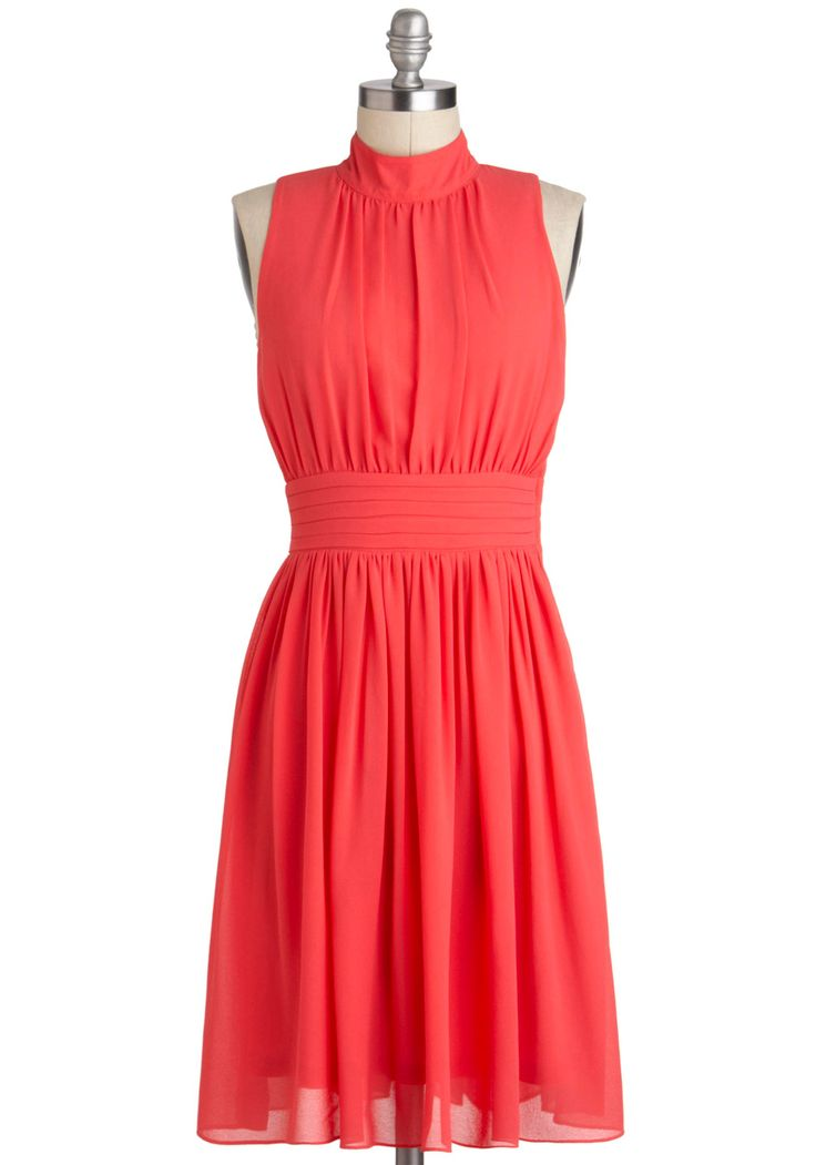 Windy City Dress In Coral Solid Party A Line
