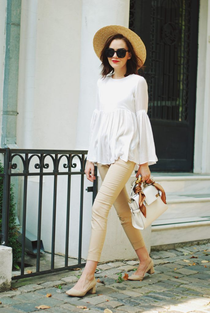 Camel pants trousers, white bell sleeve top, beige suede pumps, straw hat, white crossbody bag, scarf, summer fall outfit idea, Andreea Birsan