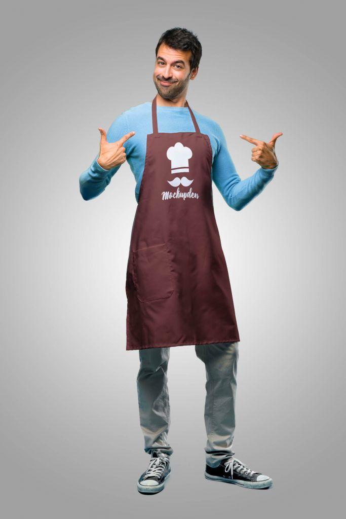 Download Person Wearing Apron Mockup Psd Template Clothing Mockup Mockup Psd Restaurant Branding