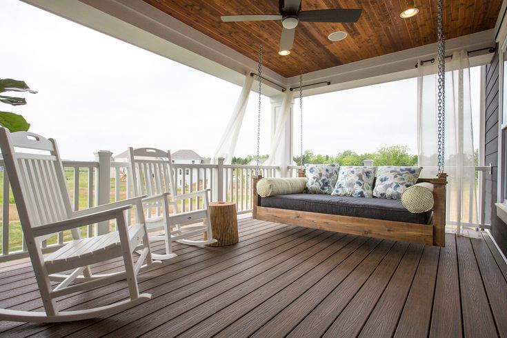 Baroque Azek technique Columbus Transitional Porch Decorating ideas with bench swing bolsters ceiling fan chains covered porch custom lap siding pillows porch swing