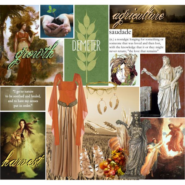 Demeter // Goddess of the Harvest, Agriculture, & Growth by reya-selene on Polyvore featuring Mikael Aghal, Loeffler Randall, Aurélie Bidermann, Jennifer Behr, Demeter Fragrance Library and Hermès