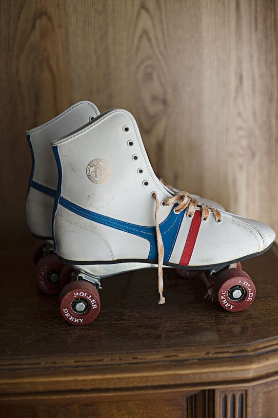 Vintage Red White Blue Roller Skates Size 8 Vintage by ForestDaydream on Etsy.    Old school red, white and blue girls roller skates in size 8.