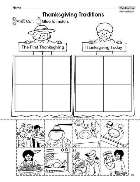 Thanksgiving Worksheet: then and now