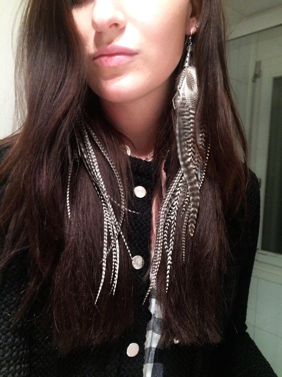 Feather Earrings- Long Black & White Grizzly Striped feathers with Silver Cones, Chains and Diamond Charms topped w Crystal beads by MEDICINAdesigns