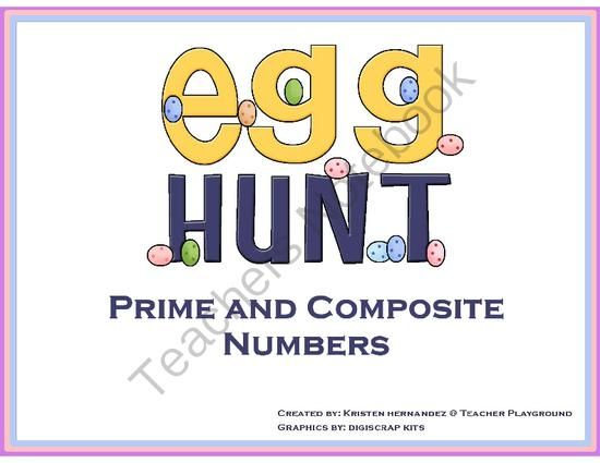 Prime and Composite Numbers Egg Hunt from Teacher Playground on TeachersNotebook.com -  (37 pages)  - Enjoy this fun filled activity that will get your students excited about learning. Your students will be able to identify prime and composite numbers by placing them in the appropriate basket they belong to. Tons of fun!!  Numbers 1-100 plus blank eggs if