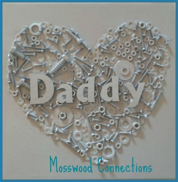 Upcycled Nuts and Bolts Heart This upcycled nuts and bolts heart craft will put to good use those random nuts and bolts that you have in your garage. #FathersDay