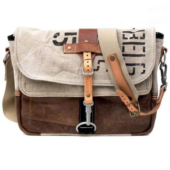 Ingrid Schattauer-Paul/Peace4You - Upcycled Messenger Bag - combining an old Belgian mail bag, a school bag and leather jacket