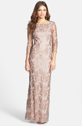 Adrianna Papell Sequin Embroidered Lace Column Gown | Nordstrom