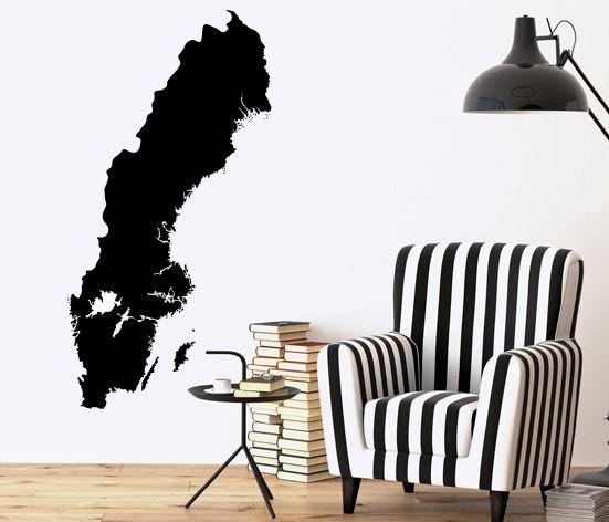 VÄGGDEKOR Sverigekarta