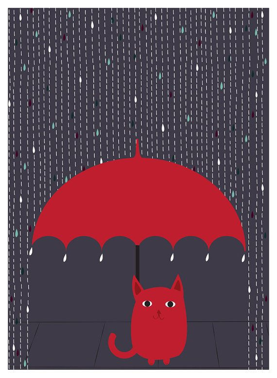 """Rain Kitty"" Cat Art Print, available in 3 sizes, by  strawberryluna. Click to purchase or for more info in our Etsy Shop!"