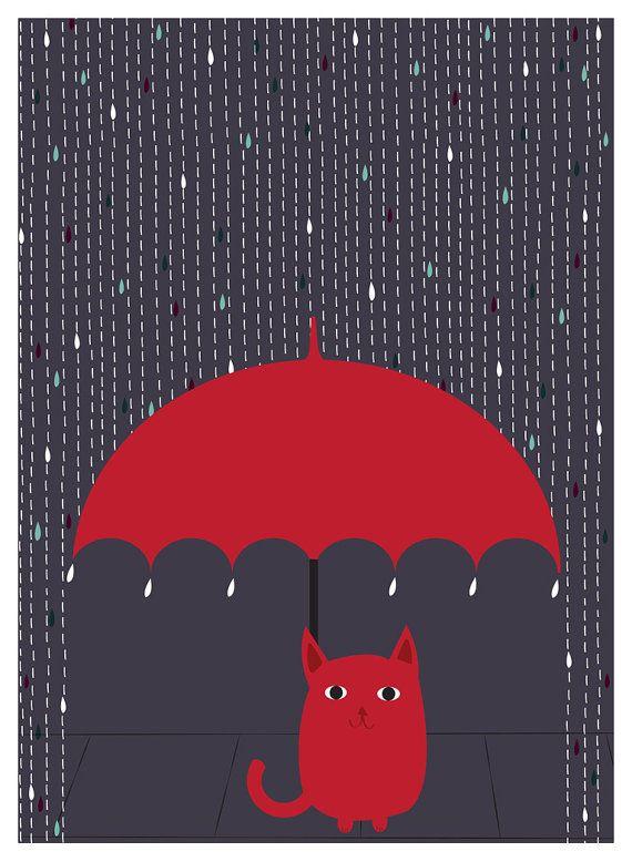 Gato impresión del arte poster lluvia gatito por strawberryluna