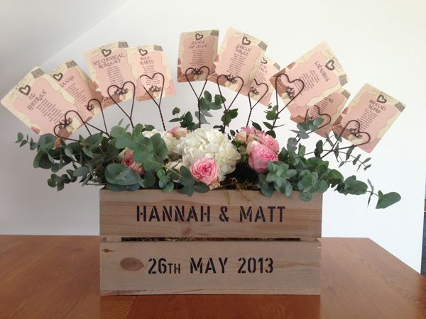 Rustic crate filled with flowers and heart card holders for your table plan (7 Unique Wedding Table Plans) available from www.theweddingofm... #wedding