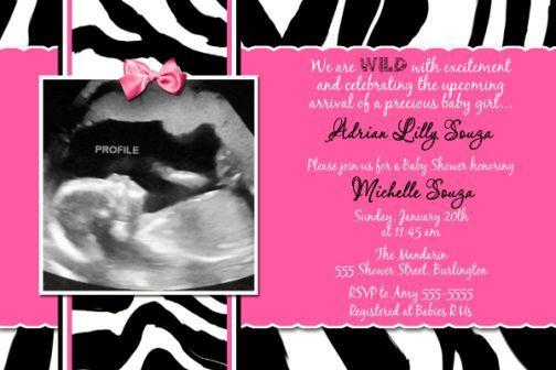 pink+zebra+baby+shower   Hot Pink Zebra Single Photo Ultrasound Baby Shower Invitations ...