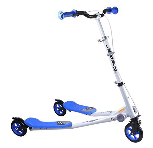 cool 3 WHEELS KIDS MINI SPEEDER SLIDER WINGED SCOOTER TRI MOTION FLICKER DRIFTER (BLUE)
