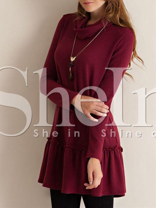 Negozio Vestito con maniche lunghe color vinaccia on-line. SheIn offre Vestito con maniche lunghe color vinaccia & di più per soddisfare le vostre esigenze di moda.